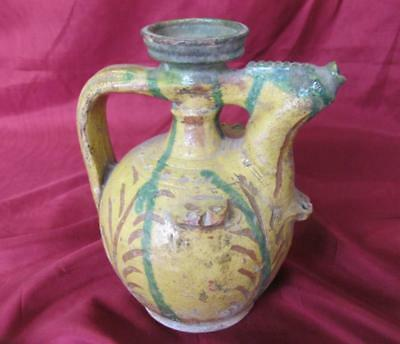 1850s ANTIQUE OTTOMAN ISLAMIC REDWARE HAND MADE GLAZED POTTERY PITCHER JUG