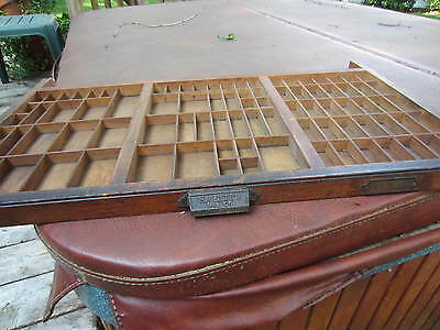 Vtg HAMILTON Printers Type Cabinet Drawer Shadow Box Tray Wood 32x17x1.5 USA