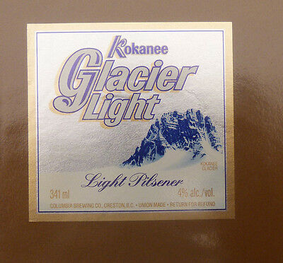 Vintage Canadian Beer Label - Columbia Brewery, Kokanee Glacier Light Beer