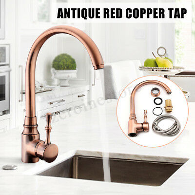 Red Copper Luxury Antique Kitchen Basin Sink Tap Hot&Cold Water Mixer Faucet