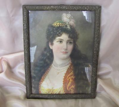 19C. Antique Color Print Lithography The First Miss Bulgaria - Mara Bobeva