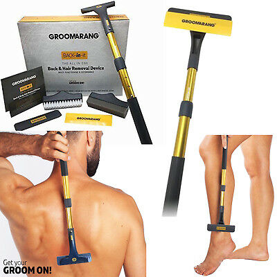 Groomarang Mens Back Hair Removal Tool Grooming Extendable Shaver Razor Blade