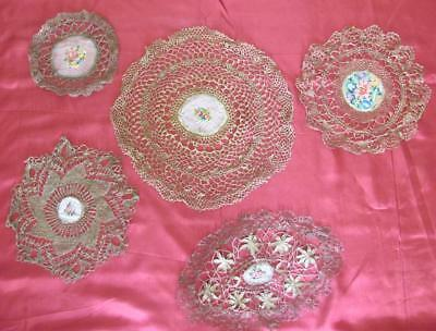 19C ANTIQUE SET OF 5 HAND KNITTED CROCHET DOILY TABLE RUNNERS w/GOLD THREADS
