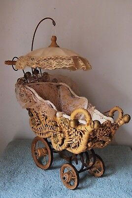 Ornate Wicker Lace Doll Carriage Pram with Hanging Parasol