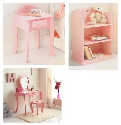 Childrens Kids Bedroom Amelia Vanity Bedside Table Bookcase Vanity Sets Pink