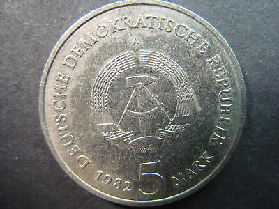Germany, Democratic Republic, 5 Mark 1982A Coin, Nice,