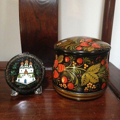Vintage Russian folk art Khokhloma laquer hand painted box Strawberry Fields + 1