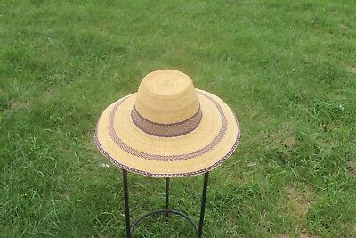 Large Unisex Traveler Style Handmade Straw Hats From Ghana Authentic Ashanti