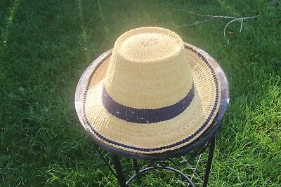 Small Unisex Traveler Style Handmade Straw Hats From Ghana Authentic Ashanti