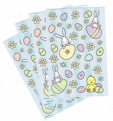 4 Sheets EASTER Scrapbook Stickers! BUNNY Chick Eggs Flowers!