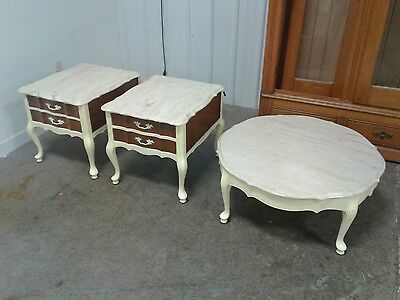 Vintage Hammary Portuguese Marble Top End Tables And Coffee Table Set