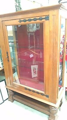 Antique golden oak glazed display cabinet/vitrine