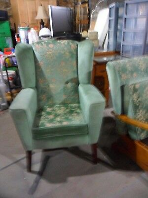 antique wing back armchair  vintage  re upholstered