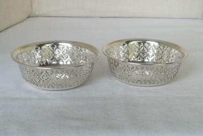A Stunning Antique Pair Of Solid Sterling Silver Pierced Bowls Sheffield 1911.