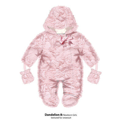 Baby Girls Romany Style Textured Faux Fur Pramsuit Snowsuit Satin Bow Decoration