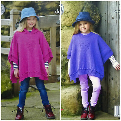 KNITTING PATTERN Girl Hooded or Round Neck Poncho Heart Design DK King Cole 4928