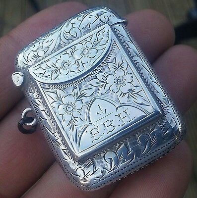 Rare Edwardian Sterling Silver William Light Vesta Stamp Case Combined 1906