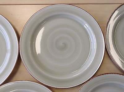 Set 6 x Steelite Craft Plates Green Swirl + Rustic Rim 26.5 cm 10.4 inch
