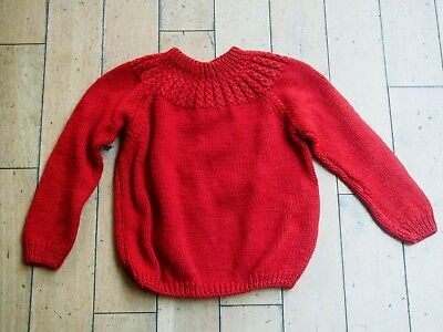 1940s true vintage rust red jumper, thick knit, autumn, excellent condition