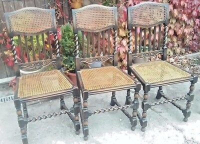 3 solid-oak antique barley-twist dining chairs
