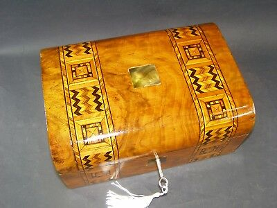 Domed Antique Tunbridge Banded Box Working Lock & Key 1870  Mother Of Pearl