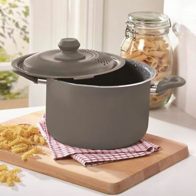 Durastone Grey 4L Induction Pasta Cooking Pot Pan With Locking Strainer Lid-NEW