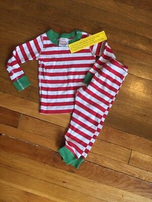 Hanna Andersson Red White Striped 2 pc. Christmas Pajamas, Size 80 (2T) NWT