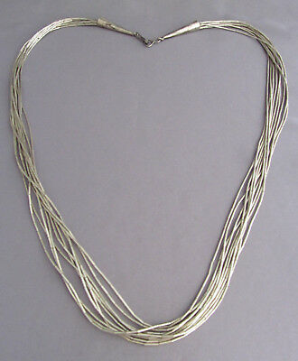 """VINTAGE LONG STERLING OLD PAWN (10) MULTI STRAND LIQUID SILVER NECKLACE 26"""" 38g"""
