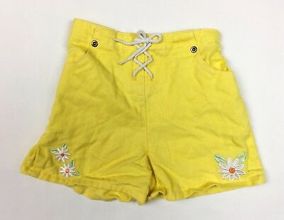 Vintage 70's 80's Girl's Shorts 4T 4 Yellow Daisy Embroidered Hi Waist
