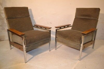 STUNNING PAIR VINTAGE ROSEWOOD & CHROME LOUNGE CHAIRS - 1960's