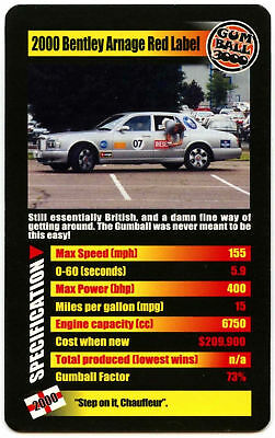 2000 Bentley Arnage Red Label Gumball 3000 Supercars Top Trumps Card (C439B)