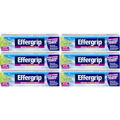 6 Pack Effergrip Extra Strong Denture Adhesive Cream Zinc Free 2.5oz Each