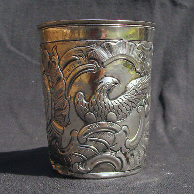 Antique 18th Century Russian Solid Silver Beaker Repousse Eagles Moscow c1775