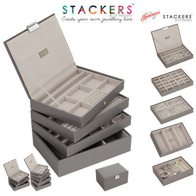 Stackers Classic Size Jewellery Boxes Trays In Mink With Grey Valvet Linings