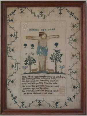 Antique Sampler, 1831, 'Behold the Man' by Sarah Evans