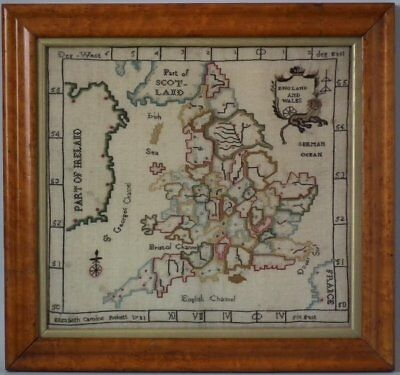 Antique Map Sampler, 1783, by Elizabeth Caroline Foskett