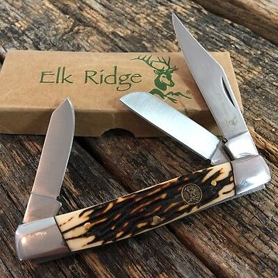 ELK RIDGE Brown Bone GENTLEMAN'S 3 Blade Folding Pocket Knife ER-043I New -W