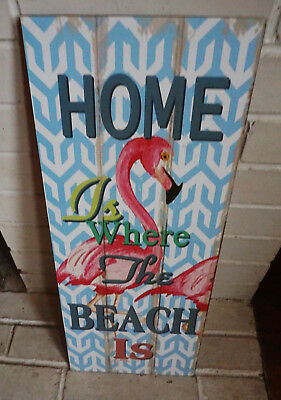 HOME IS WHERE THE BEACH IS Flamingo Coastal Wood Plank Pink Home Decor Sign NEW
