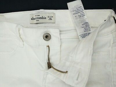Girls Abercrombie & Fitch Jeans Skinny Slim Size 16 Stretch White(V1)