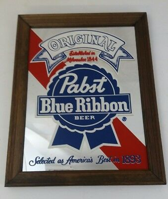 Pabst Blue Ribbon Beer Mirror Sign Wall Hanging - PBR - Bar Memoribilia