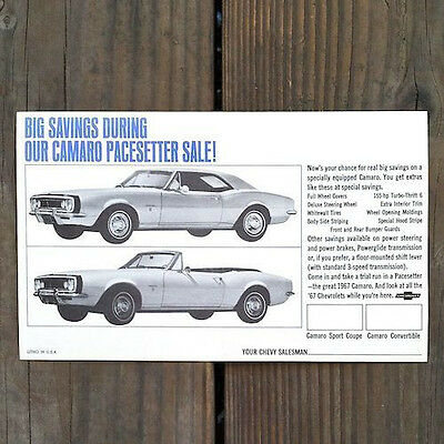 2 Original CHEVROLET CAMARO PACESETTER Car Advertising Postcard 1967 NOS