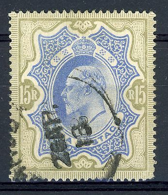 INDIA 1902-11. 15R Blue & Olive Brown. SG 146. Good Used. Crease. (AR377)