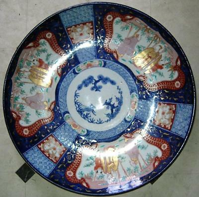 Large 18.5 inch Antique Japanese Imari porcelain charger Pine Plum bamboo 19thC