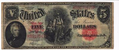 Series Of 1907 Five Dollar $5 United States Note Paper Currency Bill