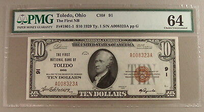 1929 Fr. 1801-1 $10 Toledo, Ohio National Banknote PMG Choice Uncirculated 64