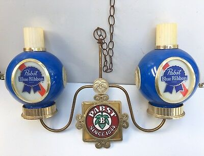 Vintage Pabst Blue Ribbon Beer Plastic Hanging Light Lamp Fixture