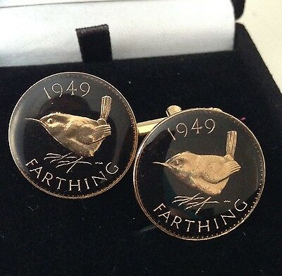 1949 George VI Enamelled Farthing Coin Cufflinks. Black/gold. 68th Birthday