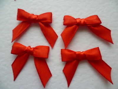 20 Pretty Tiny Bright Red 10mm Ribbon bows 🎀 for card making/scrap booking. UK