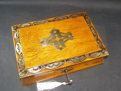 Antique Oak Box Working Lock & Key 1890  Shaped Sides,Metal Edged and Center