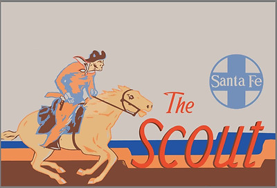 The Scout Santa Fe railroad rare  advertising sign vintage baked large